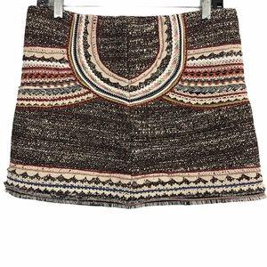 Zara Woman Crochet Embroidered Mini Textured Skirt